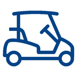 blue icon of a golf cart